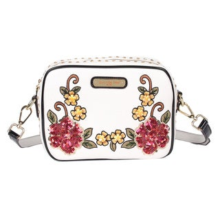 Sequin Floral White Faux Leather and Nylon Crossbody Bag