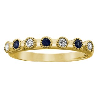 Beverly Hills Charm 10k Gold 1/4 ct Blue Sapphires and Diamonds Vintage Band Ring