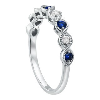 Beverly Hills Charm 10k Gold 4/9 ct Blue Sapphires and Diamonds Vintage Band Ring