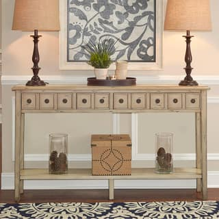 powell sadie cream colored long console table - Cream Colored End Tables