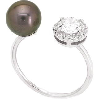 Sterling Silver Tahitian Pearl Ring with Cubic Zirconia, size 7
