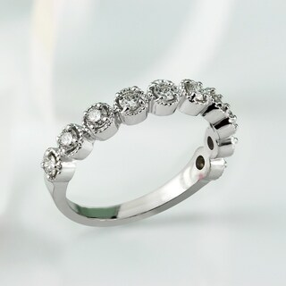 Auriya 10K Gold 1/3ct TDW Stackable Vintage Halo-Inspired Diamond Ring