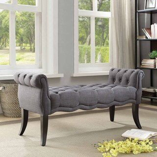 Mason Charcoal Rolled Arm Bench