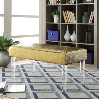 Linon Mindy Grey Fabric Bench With Clear Legs Free
