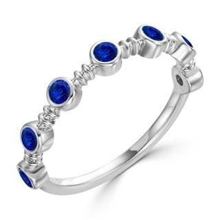 Auriya 10K Gold 3 8ct TDW Bezel Blue Sapphire Gemstone Wedding Band