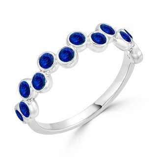Auriya Petite Stackable 3 4ct TW Sapphire Gemstone Wedding Band 10K Gold