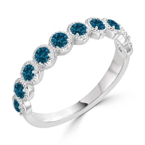 Auriya Stackable 1/3ctw Blue Diamond Wedding Band 10K Gold