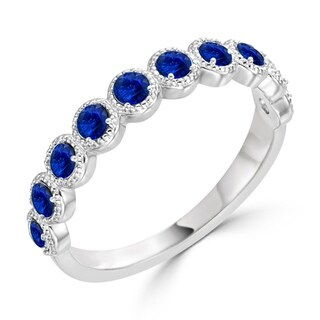 Auriya 10K Gold 1/3ct TDW Bezel Blue Sapphire Beaded Gemstone Wedding Band