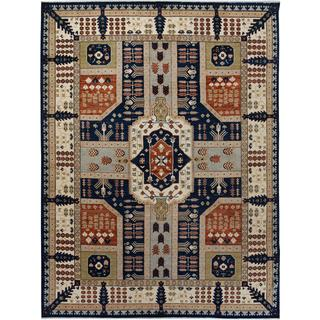 Arshs Fine Rugs Hand-knotted Kafkaz Peshawar Monroe Blue and Ivory Wool Rug - 9' x 12'