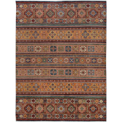 Arshs Fine Rugs Kurjean Arya Collection Merrill Red/Blue Wool Hand-knotted Rug - 9' x 12'