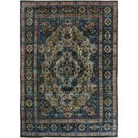 Arshs Fine Rugs Color Reform Collection Kirby Blue/Beige Wool Hand-knotted Vintage Rug (9'6 x 13'8)