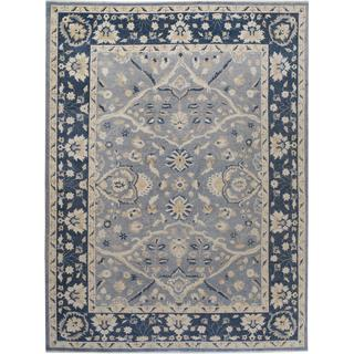 Arshs Fine Rugs Kafkaz Peshawar Irwin Grey/Blue Hand-knotted Wool Rug - 9' x 12'