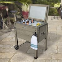 Backyard Discovery Barnwood Outdoor Patio Cooler Stand