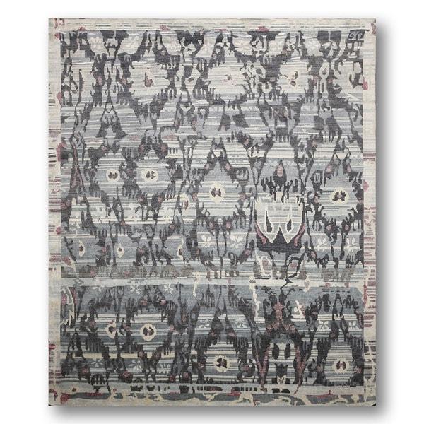 Boho Turkish Ikat Grey Wool Hand-knotted Area Rug (8' x 10')
