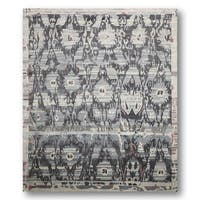Boho Turkish Ikat Grey Wool Hand-knotted Area Rug (8' x 10')