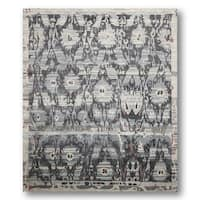 Boho Turkish Ikat Grey Wool Hand-knotted Area Rug - 8' x 10'