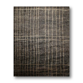 Country Cottage Black/Beige Jute Hand-knotted Oriental Area Rug (9'x12')