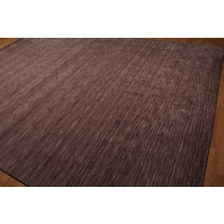 Country Cottage Purple Wool Casual Tone-on-Tone Handmade Area Rug (9'x12')
