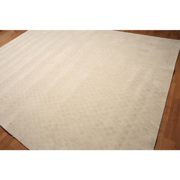 Contemporary Graphic Beige Wool Handmade Area Rug