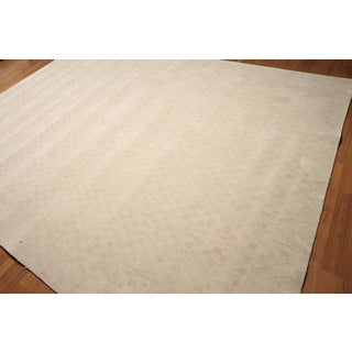 Contemporary Graphic Beige Wool Handmade Area Rug (9' x 12')