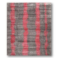 Contemporary Grey/Pink Stripes Boho Hand-knotted Tibetan Area Rug (8' x 10')