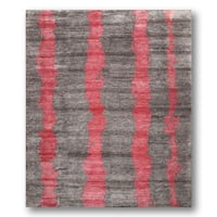 Contemporary Grey/Pink Stripes Boho Hand-knotted Tibetan Area Rug - 8' x 10'