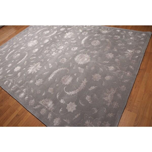 Oushak Grey Floral Wool Bamboo Silk Area Rug - 8' x 11'