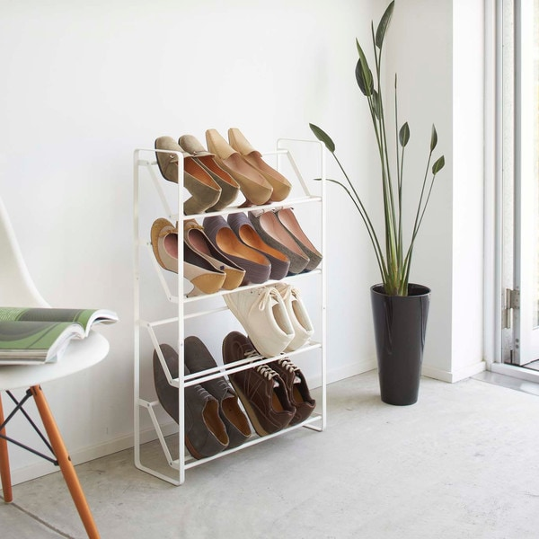 Yamazaki Solid-colored Metal Frame Slim Shoe Rack
