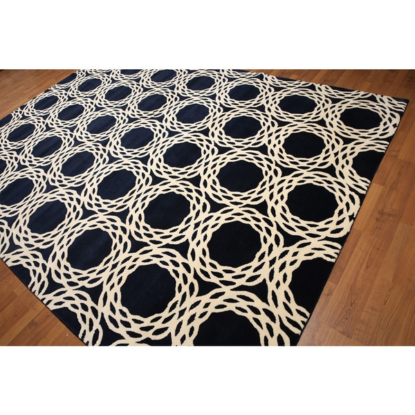 Casual Modern Navy/Ivory Wool Hand-knotted Area Rug (8' x 11')