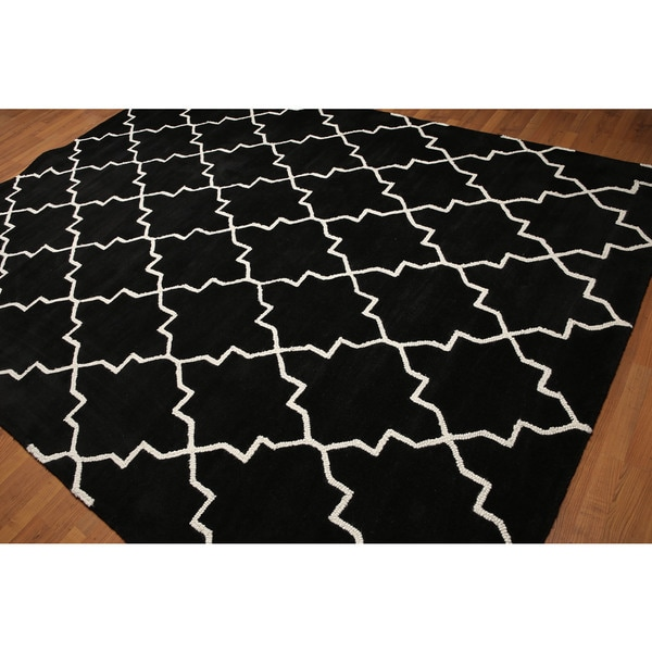 Country Cottage Casual Black/White Wool Handmade Area Rug - 8' x 10'