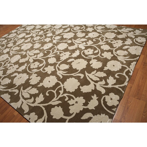 Olive Green Wool/Rayon Handmade Transitional Floral Area Rug - 9'x12'