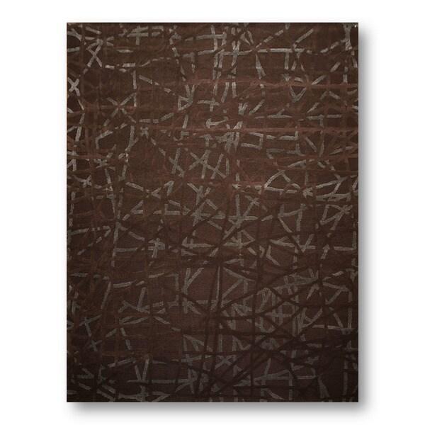 Industrial Brown Bamboo, Wool Handmade Modern Area Rug - 9'x12'