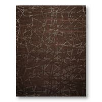 Industrial Brown Bamboo, Wool Handmade Modern Area Rug