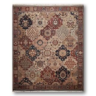 Ornamental Persian Oriental Hand-knotted Beige/ Rust Wool Area Rug (8' x 10')
