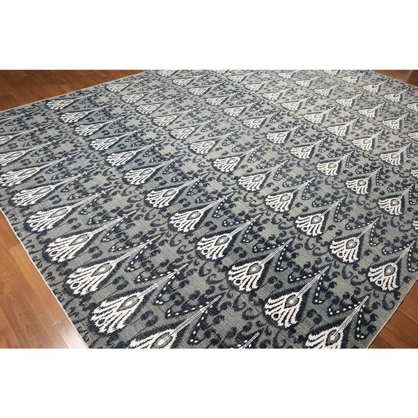 Peshawar Ikat Grey Wool Hand-knotted 250 KPSI Area Rug - 9'x12'