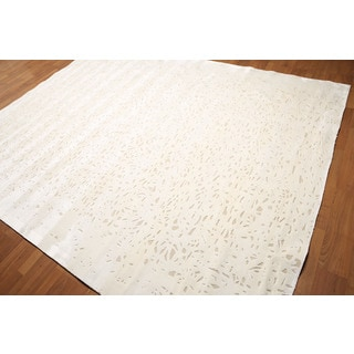 Shabby Chic Bohemian Ivory/Beige Wool/Bamboo Silk Area Rug (8' x 10')