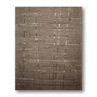 Shabby Chic Modern Tan Plaid Handmade Area Rug - 8' x 11'