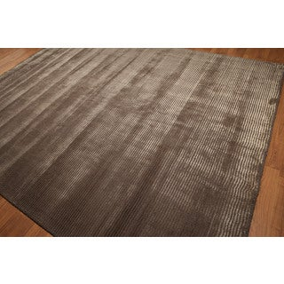Contemporary Shabby Chic Ribbed Tone-on-tone Brown Handmade Area Rug (9' x 12')