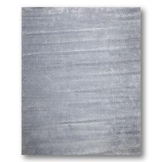 Tone on Tone Blue/Grey Wool and Bamboo Silk Area Rug (9' x 12')