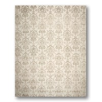 Tibetan Ikat Olive/ Beige Wool and Bamboo Silk Area Rug (9'x12')