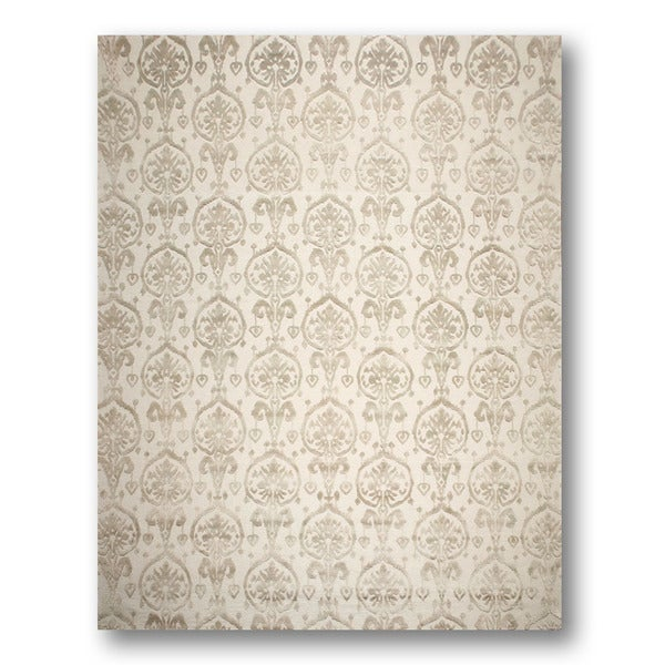 Tibetan Ikat Olive/ Beige Wool and Bamboo Silk Area Rug - 9'x12'
