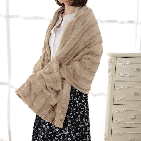 Cheer Collection Faux Fur Cape Blanket - 67 x 25 - 67 x 25