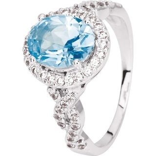 Sterling Silver Ring with Cubic Zirconia And Topaz , Size 7 - Blue