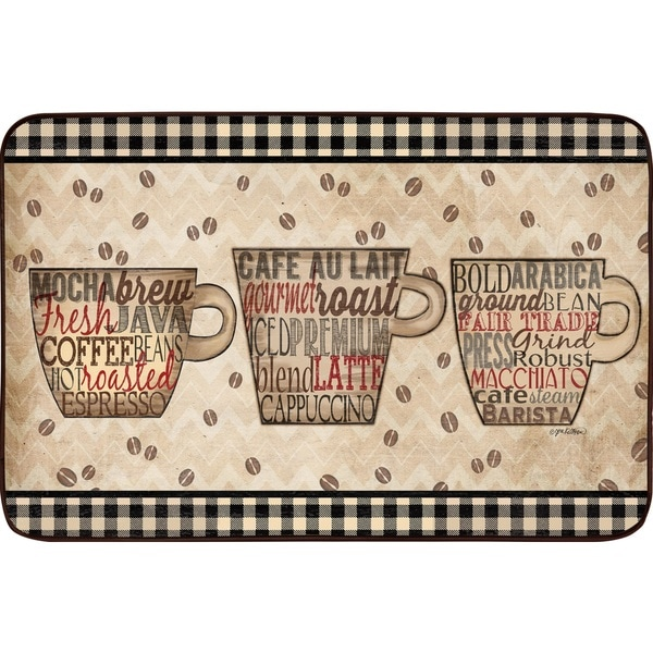 Designer Chef Series Coffee Words Oversized Anti-fatigue Kitchen Mats (24 x 36) - multi