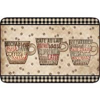 Designer Chef Series Coffee Words Oversized Anti-fatigue Kitchen Mats (24 x 36) - multi