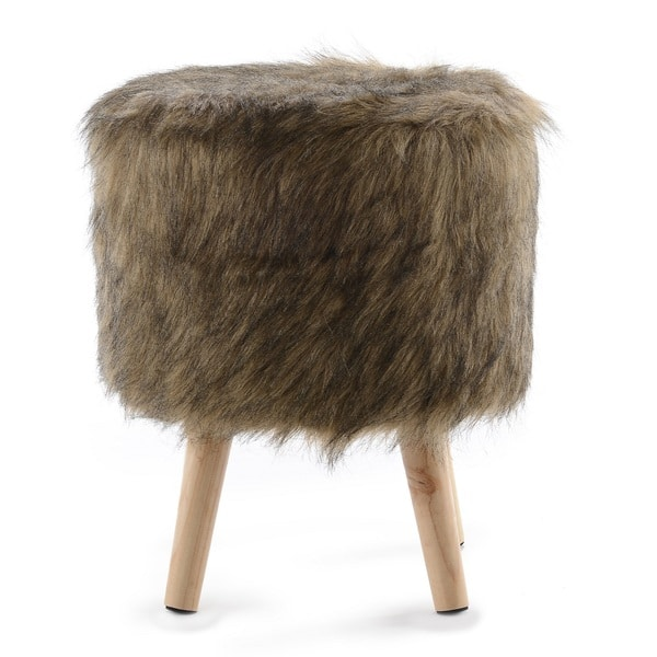 Outstanding Shop Cheer Collection Fauxfur Small Wood Leg Stool On Sale Ocoug Best Dining Table And Chair Ideas Images Ocougorg