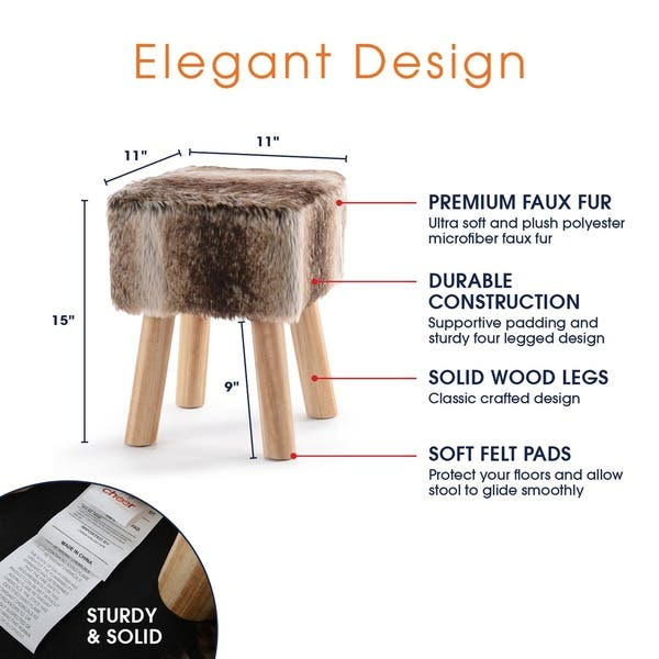 Peachy Shop Cheer Collection Fauxfur Small Wood Leg Stool On Sale Cjindustries Chair Design For Home Cjindustriesco