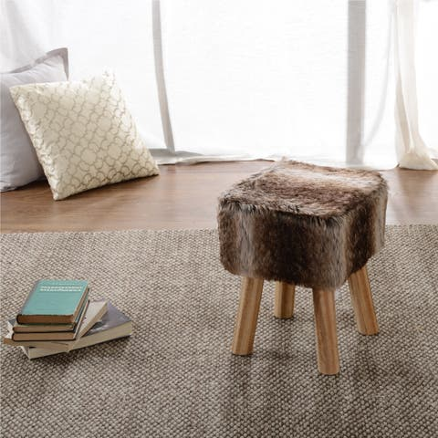 Cheer Collection FauxFur Small Wood Leg Stool
