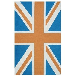 The Rug Market Union Jack Orange Acrylic Area Rug (8' x 10')