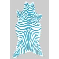 The Rug Market Zebra Teal/ White Area Rug (8' x 10')